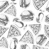 Vintage fast food seamless pattern Stock Photography