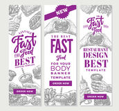 Vintage Fast Food Vertical Banners Royalty Free Stock Photography
