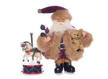 Vintage father christmas with old toys Royalty Free Stock Images