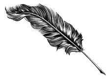 Vintage feather quill pen illustration Stock Photo