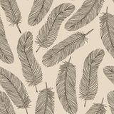 Vintage Feather seamless background. Royalty Free Stock Photography