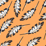 Vintage Feather Seamless Pattern Royalty Free Stock Image