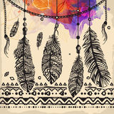 Vintage feathers ethnic pattern, tribal design, tattoo,  for fabric print Royalty Free Stock Images