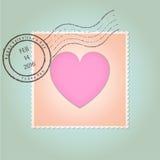 Vintage feliz del sello del día de tarjetas del día de San Valentín Imágenes de archivo libres de regalías