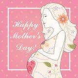 Vintage feliz do cartão do dia de mãe ilustração stock