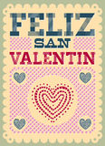 Vintage Feliz San Valentin - Happy Valentines day spanish text Stock Photo