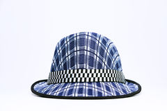Vintage, felt trilby/fedora hat with plaid blue pattern on a white background. Stock Photo