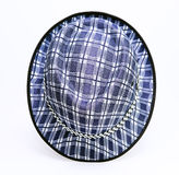 Vintage, felt trilby/fedora hat with plaid blue pattern on a white background. Stock Photos