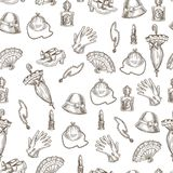 Vintage female accessories monochrome sketches in seamless pattern. Vintage female accessories sketches in seamless pattern. Pair of gloves, small purse, retro vector illustration