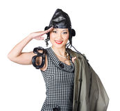 Vintage female pin-up fighter pilot saluting yes Stock Image