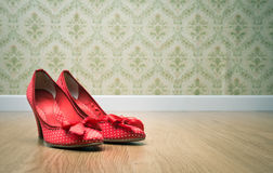 Vintage female shoes Royalty Free Stock Photos