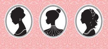 Vintage female silhouettes Stock Image