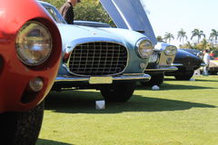 Vintage Ferrari lineup close up front view 02 Stock Photo