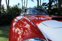 Vintage ferrari sports car front fender detail. Classic italian sports car front fender wheel arch and hood details. 1950s Ferrari 250 gt swb competizione race Stock Photography