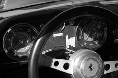 Vintage ferrari sports car gauges up b&w Royalty Free Stock Image