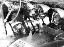 Vintage Ferrari sports car interior Stock Photography