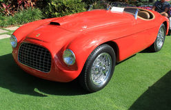 Vintage ferrari sports car. Vintage 1949 ferrari 166 mm bachetta by touring sports car showing frontend headlamps and grill Stock Images