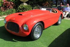 Vintage ferrari sports car. Vintage sports car showing frontend headlamps and grille. 1949 ferrari 166 mm bachetta by touring. 2012 cavallino classic Ferrari Stock Images