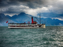 Vintage ferry boat in Queenstown, New Zealand Royalty Free Stock Image