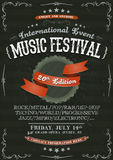 Vintage Festival Invitation Poster On Chalkboard Royalty Free Stock Image