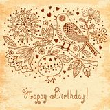 Vintage Festive Card With Flowers And Birds. Royalty Free Stock Photos
