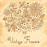 Vintage Festive Card With Flowers And Pomegranate. Stock Photos