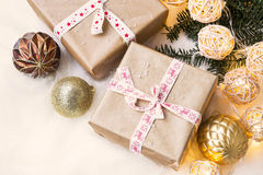 Vintage festive Christmas gifts with decoration lights Stock Photography