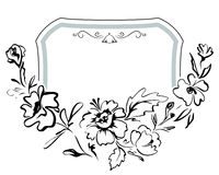 Vintage festive hand-drawn frame with soft flowers. Vector patte. Vintage festive frame with soft flowers painted by hand. Vector pattern Royalty Free Illustration
