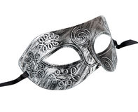 Vintage festive silver dress mask with swirls pattern Stock Image