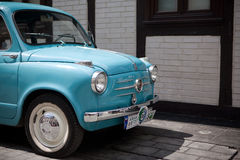 Vintage Fiat 600 in Kraków Museum. Restored old Fiat 600 - seicento exhibited in Museum of Urban engineering in Kraków, Poland during annual Krak Rally royalty free stock photo