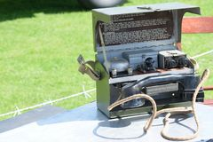 Vintage field telephone Stock Photo