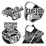 Vintage fight club emblems. Set of fighting club emblems, MMA, boxing labels and bages Royalty Free Stock Images