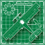 Vintage fighter airplane blueprint. Vector illustration of a vintage world war one biplane fighter blueprint Stock Photos