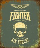 Vintage fighter pilot helmet vector logo isolated on khaki background. Premium quality air force logotype t-shirt emblem illustration poster. Military street Royalty Free Stock Photo
