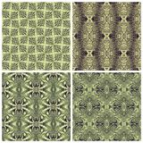 Vintage figured seamless wall-paper, olive. Vintage figured wall-paper, olive. Set. An ancient  background for design Stock Photos