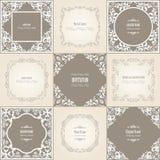 Vintage filigree frame set. Vintage baroque borders for wedding luxury design vector illustration