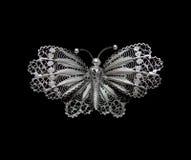 Vintage filigree silver brooch Butterfly Stock Image