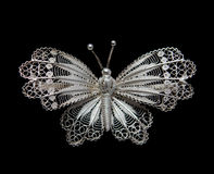 Vintage filigree silver brooch Butterfly Stock Photography