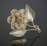 Vintage filigree silver brooch Flower Royalty Free Stock Photos