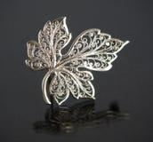 Vintage filigree silver brooch Grape leaf Stock Photography