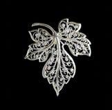 Vintage filigree silver brooch Grape leaf Royalty Free Stock Photo