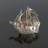 Vintage filigree silver brooch Sailboat Stock Photos