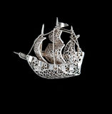 Vintage filigree silver brooch Sailboat Royalty Free Stock Photo