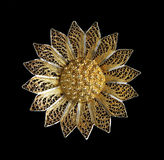 Vintage filigree silver brooch Sunflower Royalty Free Stock Photo