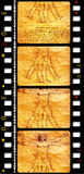 Vintage film. Leonardo Da Vinci art with vintage film Royalty Free Stock Images