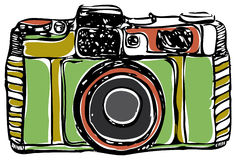 Vintage film camera, black outline, on a white background,. Vintage film camera, black outline, on a white background Stock Photo