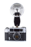 Vintage film camera with flash Stock Photo