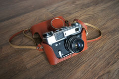Vintage film camera in leather case Stock Image
