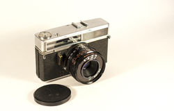 Vintage film camera. Camera film 35 mm., has built a light meter Stock Photos