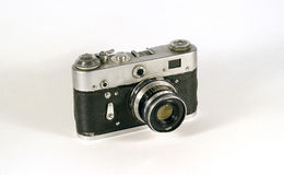 Vintage film camera. Camera for 35mm film is very popular in the USSR Royalty Free Stock Photography